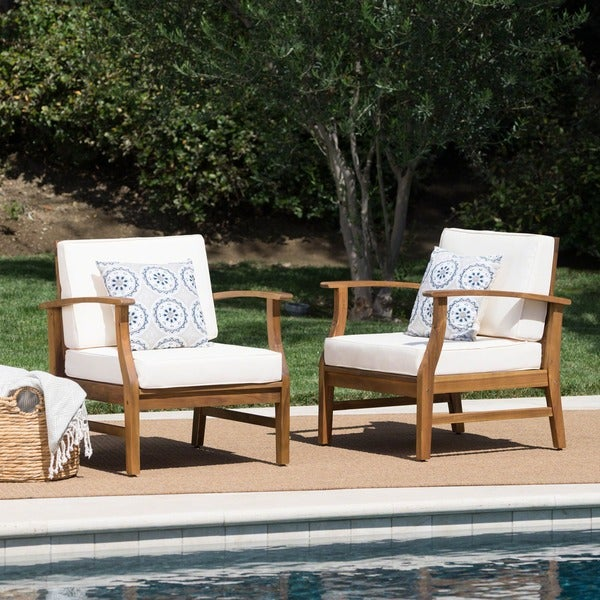 Shop Perla Outdoor Acacia Wood Club Chair With Cushion Set Of 2 By