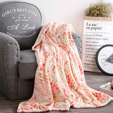Qbedding All Season Peach Leopard Microplush Blanket