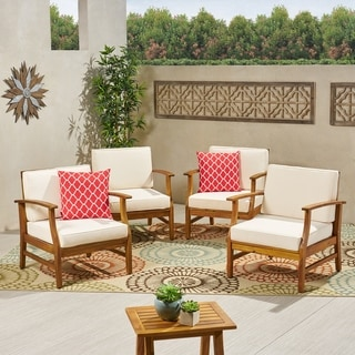 Perla Outdoor Acacia Wood Club Chair with Cushion (Set of 4) by Christopher Knight Home