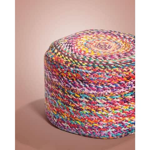 Knotted Digital Print Velvet Upholstered Pouf Ottoman