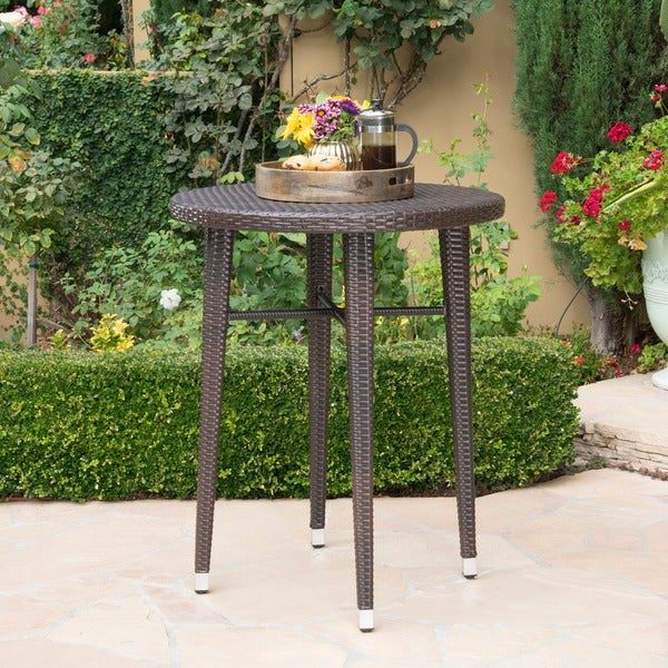 Dominica Outdoor 32 Inch Round Wicker Bar Table By Christopher Knight Home