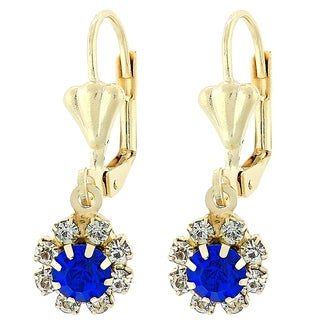 Madison Mara Collcetion Dangle Earring, Flower Design, with Tanzanite and White Stones, Polished Finish, Gold Tone
