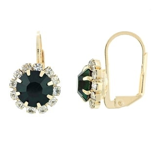 Madison Mara Collcetion Leverback Earring, Flower Design, with Emerald and White Stones, Polished Finish, Gold Tone