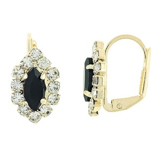 Madison Mara Collection Leverback Earring, Leaf Design, with Black and White Stones, Polished Finish, Gold Tone