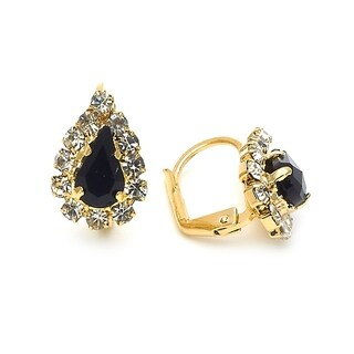 Madison Mara Collection Leverback Earring, Teardrop Design, with White and Black Stones, Polished Finish, Gold Tone