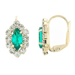 Madison Mara Collection Leverback Earring, Leaf Design, with Emerald and White Stones, Polished Finish, Gold Tone