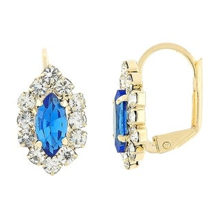 Madison Mara Collection Leverback Earring, Leaf Design, with Sapphire Blue and White Stones, Polished Finish, Gold Tone