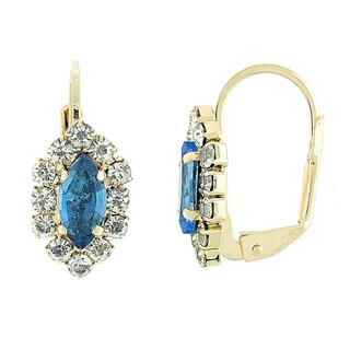 Madison Mara Collcetion Leverback Earring, Leaf Design, with Tanzanite and White Stones, Polished Finish, Gold Tone