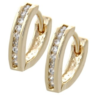 Madison Mara Collection Huggie Hoop, with White Stones, Polished Finish, Gold Tone