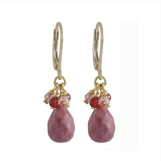 Gold Finish Rhodonite Combination Semi-precious Gemstone Dangle Earrings