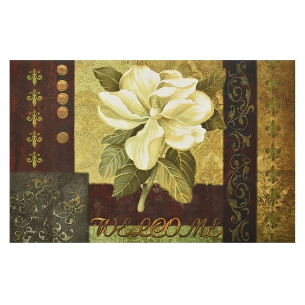 Magnolia Welcome Outdoor Rubber Entrance Mat 18 in. x 30 in.