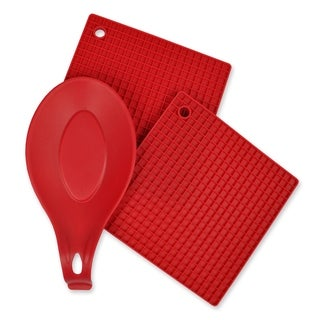 Red 3 Piece Kitchen Accessory Set