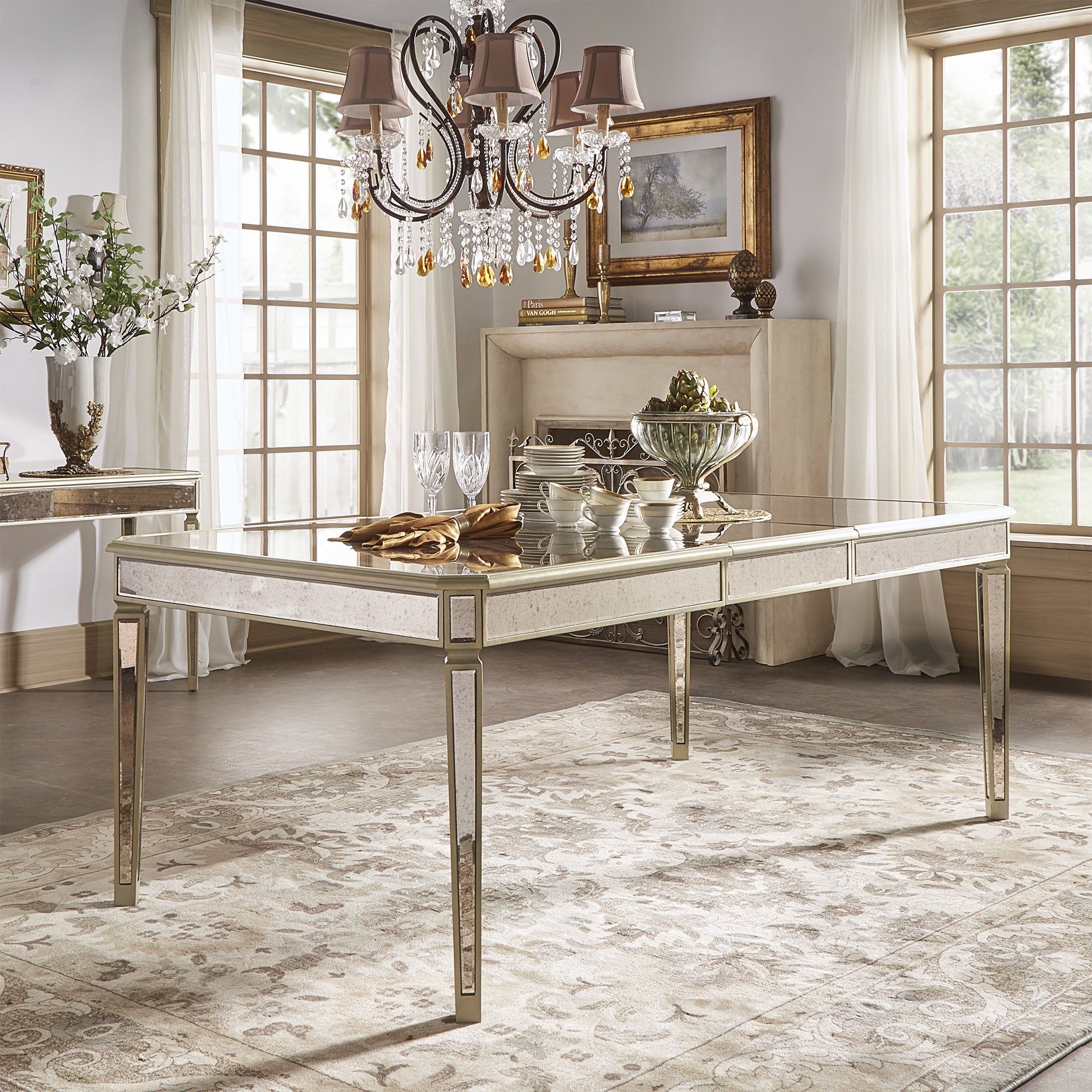 Clara Antique Gold Mirrored Extending Dining Table By Inspire Q Bold Overstock 17953109