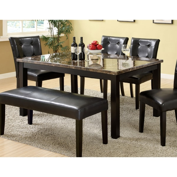Marble Dining Room Table: Shop Furniture Of America Herc Contemporary Black 60-inch