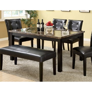 Beau Furniture Of America Perthien Contemporary Black Faux Marble Top 60 Inch  Dining Table