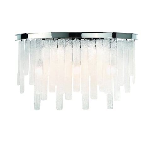 "Eurofase Candice Handmade Panels of Granular Glass Bathbar, Polished Chrome Finish - 31826-013 - 12"" high x 22"" wide"