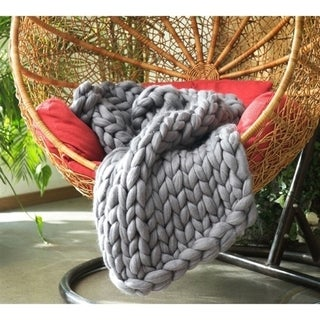 Chunky Knit Alloy Woolen Throw Blanket