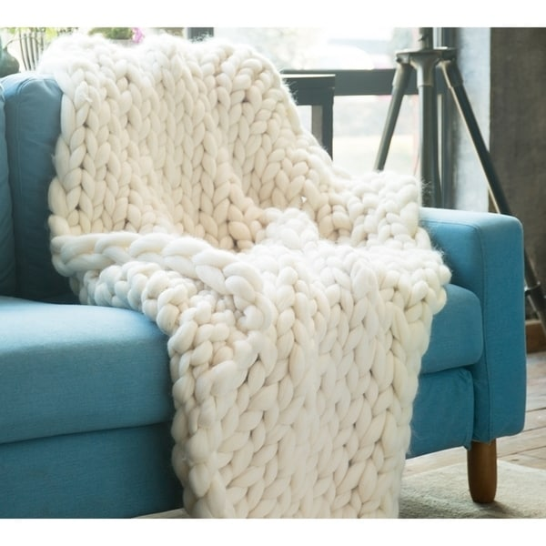 Chunky Knit Ivory Woolen Throw Blanket. Opens flyout.