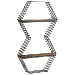 Urban Trends Metal Double Hexagon Wall Shelf with 2 Wooden Tier in Metallic Finish - Gunmetal Gray