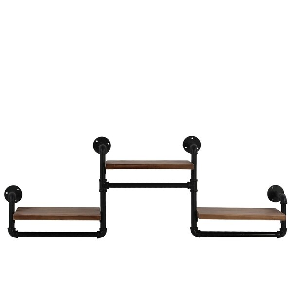 Urban Trends Wood Rectangular Wall Shelf with Ovangkol Wood, Industrial Theme and 3 Tier in Natural Wood Finish - Brown - N/A