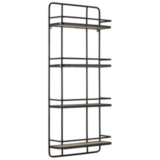 Urban Trends Metal Rectangular Wall Shelf with 4 Wooden Tier in Metallic Finish - Gunmetal Gray - N/A