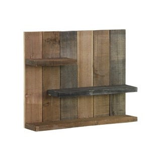 UTC26487: Wood Rectangle Wall Shelf with 3 Tier Shelves Reclaimed Wood Finish Multicolor (Gray, Dark brown and Tan)