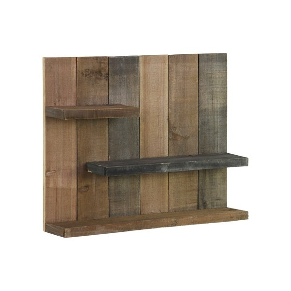 Utc26487 Wood Rectangle Wall Shelf With 3 Tier Shelves Reclaimed Finish Multicolor Gray