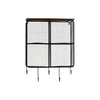 UTC37095: Metal Wall Shelf with Wood Top, 4 Slots, Mesh Backing and Sides, and 5 Hooks Coated Finish Black
