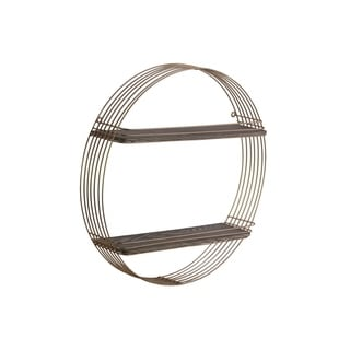 Urban Trends Metal Round Wall Shelf with 2 Wooden Tier in Metallic Finish - Gold