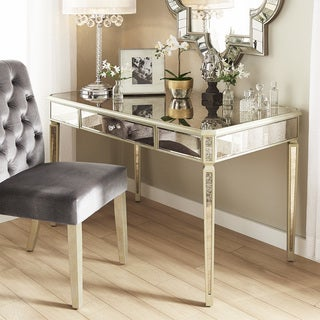 Clara Antique Gold 1-Drawer Mirrored Writing Desk by iNSPIRE Q Bold