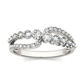 Charles & Colvard 14k White Gold 4/5ct DEW Forever Brilliant Moissanite Infinity Fashion Ring