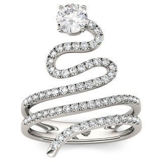 Charles & Colvard 14k White Gold 1 1/7ct DEW Forever Brilliant Moissanite Cleopatra Fashion Ring