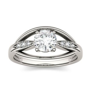 Charles & Colvard 14k White Gold 7/8ct DEW Forever Brilliant Moissanite Fashion Ring