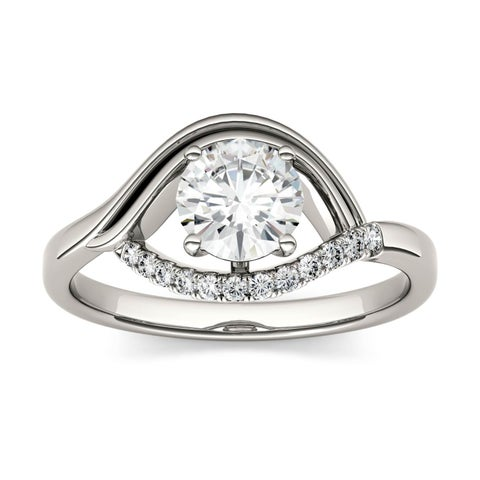 Charles & Colvard 14k White Gold 9/10ct DEW Forever Brilliant Moissanite Fashion Ring
