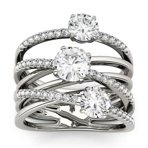 Charles & Colvard 14k White Gold 2 1/4ct DEW Forever Brilliant Moissanite Fashion Ring