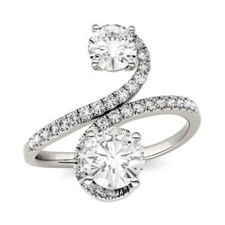 Charles & Colvard 14k White Gold 1 4/5ct DEW Forever Brilliant Moissanite Two Stone Bypass Ring