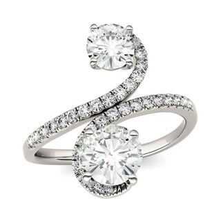 Charles & Colvard 14k White Gold 1 4/5ct DEW Forever Brilliant Moissanite Two Stone Bypass Ring