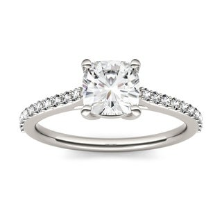 Charles & Colvard 14k White Gold 1 1/3ct DEW Forever One Near-Colorless Solitaire with Side Accents Engagement Ring