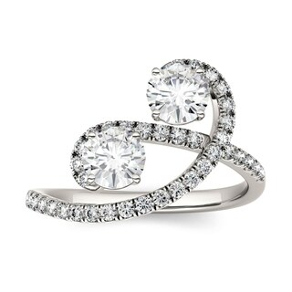 Charles & Colvard 14k White Gold 1 2/5ct DEW Forever Brilliant Moissanite Two Stone Bypass Ring