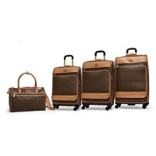 Signature Adrienne Vittadini 4-Piece Expandable Luggage Set- Chocolate
