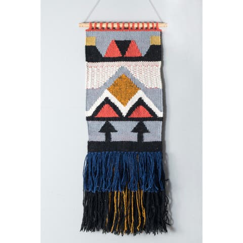 nuLoom Handmade Woven Abstract Tassles Wall Hanging (1'6 x 2'6)