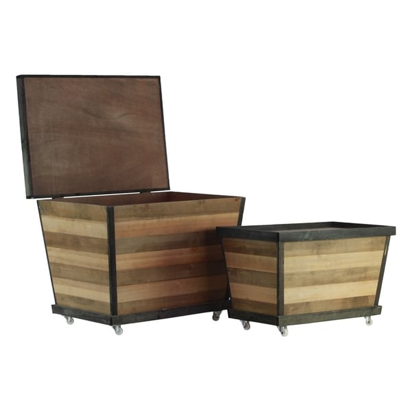 Urban Trends Wood Rectangle Crate with Lid and Parquet Stripes Pattern Body in Natural Wood Finish, Set of 2 - Brown and Tan