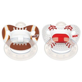 NUK Sports Orthodontic Pacifier - 0-6 Months - 2 Pack - Football/Baseball