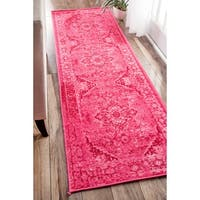 nuLOOM Traditional Vintage Inspired Overdyed Fancy Pink Runner Rug (2'6 x 12')