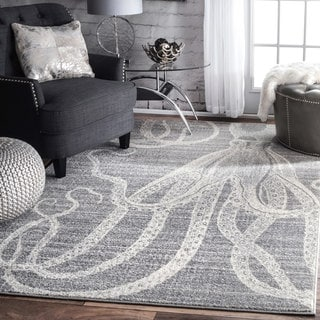 nuLOOM Made by Thomas Paul Faded Seaside Octopus Stripes Grey Rug (4' x 6')