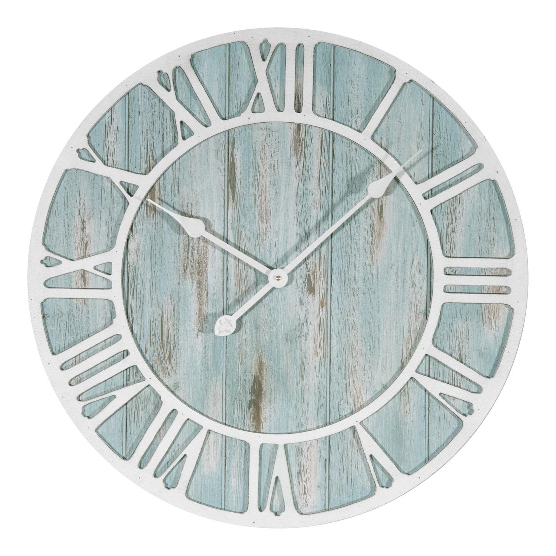 La Crosse Clock 404-4060 23.5 Inch Round Blue Coastal Decorative Quartz Wall Clock