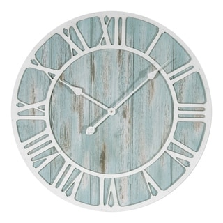 The Gray Barn Cocklebur 23.5-inch Round Blue Quartz Coastal Wall Clock