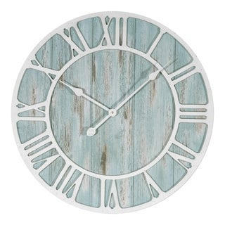 Havenside Home Buckroe 23.5-inch Round Blue Quartz Coastal Wall Clock