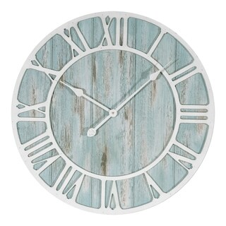 La Crosse Clock 404-4060 23.5 Inch Round Blue Coastal Decorative Quartz Wall Clock