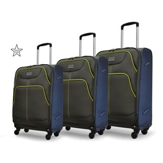 Adrienne Vittadini Lime Piped Charcoal 3-Piece Spinner Luggage Set